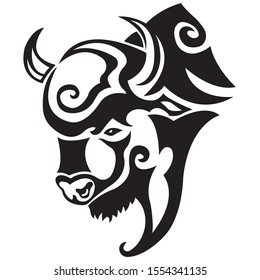 The silhouette, the contour of the muzzle of a bull, a yak is drawn in black on a white background with lines of various widths. Logo animal head of a bull, yak. Vector illustration