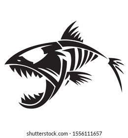 The silhouette, contour of a piranha fish of black color on a white background is drawn by lines of various widths. Pirate piranha fish logo. Vector illustration