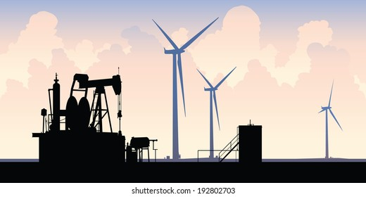 Silhouette of contrasting energy sources: an old oil well and modern wind turbines.