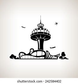 Silhouette control tower at the airport on a light background,  black and white  vector illustration
