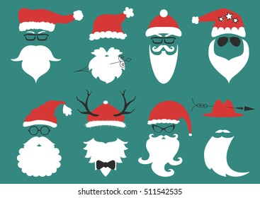 Silhouette with cool beard and glasses. Vector hipster Santa Claus