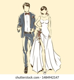 Silhouette of couple, bride and groom drawing by black lines. Vector freehand cartoon style. Wedding ceremony. Elegant bride in beautiful dress and handsome fiance. Artwork for invitation card, banner