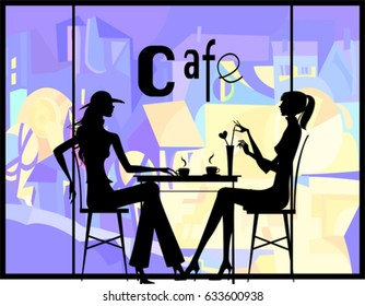 Silhouette of the couple in the cafe, vector illustration.