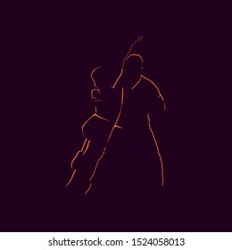 Silhouette of couple dance kizomba. Latin dancing poster for the party.