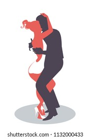 Silhouette of couple dancing bachata, merengue or latin music