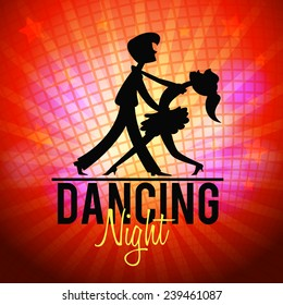 Silhouette of a couple dancing tango. Dancing night flyer template. Vector illustration