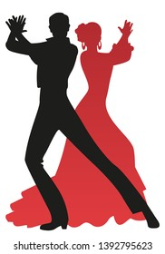 Silhouette of couple of flamenco dancers playing the palms, isolated on white background