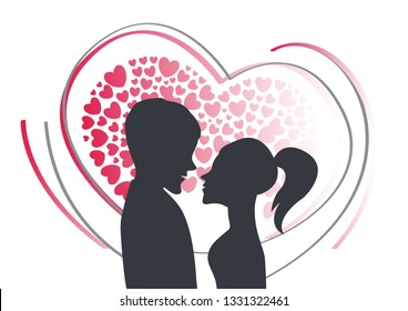 a silhouette of a couple in front of many hearts