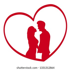a silhouette a couple in a heart