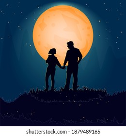 Silhouette couple man and woman holding hand together on hill under moonlight. Valentines Day. Happy Lovers. Romantic silhouette of loving couple in Valentines night. Stock vector illustration