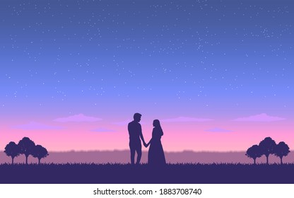 Silhouette couple man and woman holding hand together under evening sky with stars background