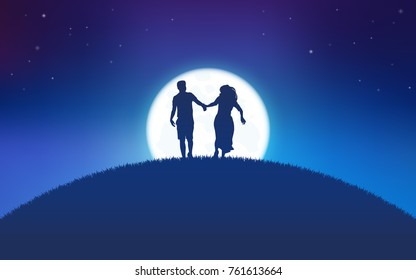 Silhouette couple man and woman holding hand running together under moon shine and stars background