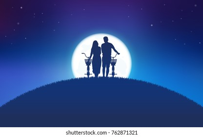 Silhouette couple man and woman walking together with bicycle on hill with big moon and stars background
