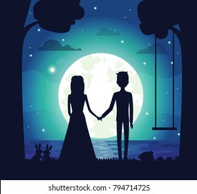 Silhouette of couple at night, clouds and stars, bright full moon and river, trees and swing, bunnies and bushes, isolated on vector illustration