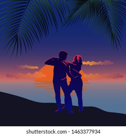 Silhouette of couple on beach at sunset.Young couple dance salsa. Dancers on the sand at summer dusk.