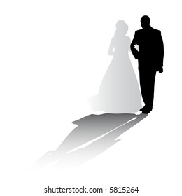 silhouette of the couple on their wedding day