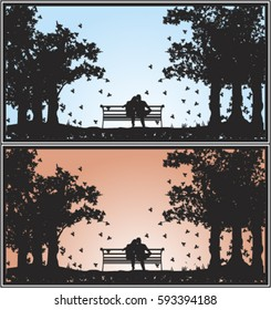 silhouette of a couple sitting on a bench embraced at noon and at sunset in a park in autumn looking at the sky