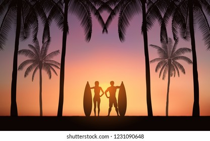 Silhouette couple surfer standing and carrying surfboard on beach with palm tree under sunset sky background