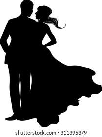 Silhouette - Couple - Vector Illustration