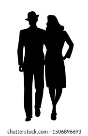 Silhouette of couple walking, wearing retro style clothes, isolated on white background