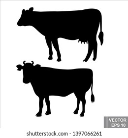 Silhouette of a cow. Beef. The part for cutting. Agriculture. For your design.