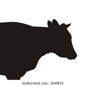Silhouette of the cow of black color on a white background