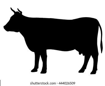 Silhouette of a cow. Cattle. Circuit. Farm. Bull. Black and white drawing by hand.