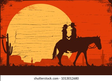 Silhouette of Cowboy Couple riding horse on a wooden sign, vector