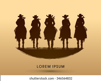 Silhouette, Cowboy Gangs on horse, graphic vector