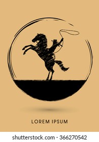 Silhouette, Cowboy on bucking horse with lasso, designed using grunge brush graphic vector.