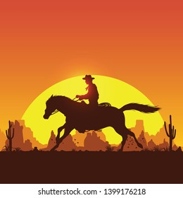 Silhouette of a cowboy riding horse at sunset, Vector Illustration