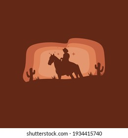 Silhouette of Cowboy riding horses