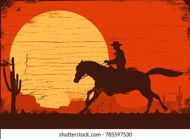 Silhouette of a cowboy riding a wild horse at sunset on a wooden sign, vector