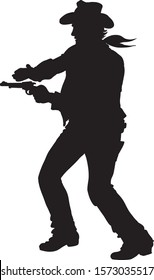 Silhouette of a Cowboy Shooting Pistol