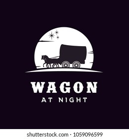 Silhouette of Cowboy Wagon at night Logo design inspiration
