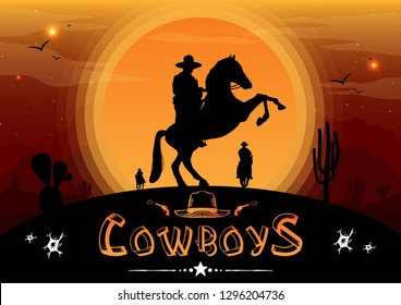 Silhouette of Cowboys on horseback with the background is the sunset, Vector