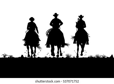 Silhouette of cowboys riding horses, Vector