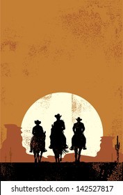 Silhouette of cowboys at sunset in grunge style