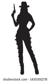 Silhouette cowgirl standing with handgun in vector illustration