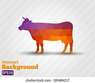 Silhouette cows, farm animals. on a white background - vector silhouette Geometric shapes.