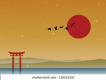 Silhouette of cranes flying in winter at Gate Tori Japan, Vector