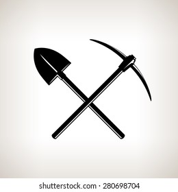 Silhouette of  Crossed Shovel and Pickaxe on  Light Background, Hand Tool with a Hard Head Attached Perpendicular to the Handle ,Tools for Excavation, Black and White Vector Illustration