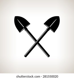Silhouette of  Crossed Shovels on a Light Background, a Tool for Digging,Black and White Vector Illustration