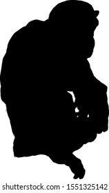 Silhouette of a crouching primate. Vector illustration.