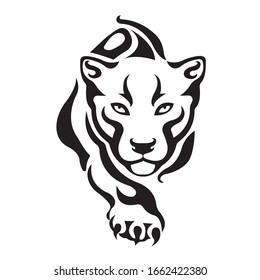 The silhouette of a crouching tiger in black, drawn by various lines in the Celtic style. Isolated vector