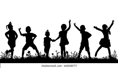 silhouette of a crowd of children dancing, playing in nature