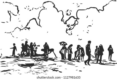 Silhouette of crowd of people on the mountain with clouds.