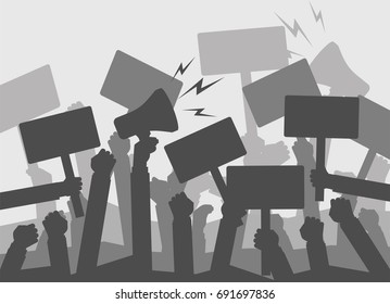 Silhouette crowd of people protesters. . Protest, revolution, conflict. Flat vector illustration.