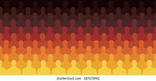 Silhouette of Crowd of People Sitting in Rows