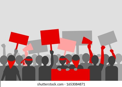 Silhouette Crowd of Protesters Sign. Highlight with Red Color. Flat Vector Illustration. Protest People Activity Concept.